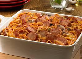 baked smoked sausage spaghetti casserole johnsonville