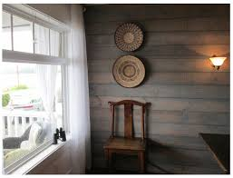 shiplap with transparent water based driftwood stain bedroom