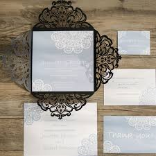 lace invitations pastel blue lace black laser cut wedding invitations