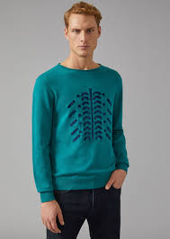 tribal sweater sweater in linen with tribal pattern for giorgio armani