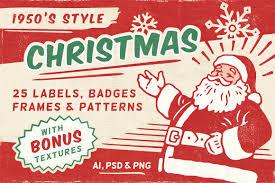 retro christmas labels vol 1 templates creative market