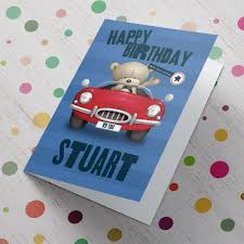 hugs personalised birthday card sports car from 99p