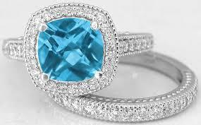 blue topaz engagement rings diamond halo engagement ring with matching band swiss blue topaz
