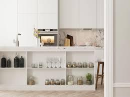 kitchen white kitchen cabinet open shelving glassware appliances