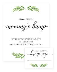 baby shower guessing greenery baby shower guess how big is s tummy sign and