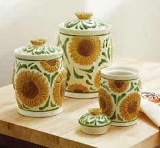 sunflower canisters for kitchen ceramic sunflower kitchen canister set collections etc