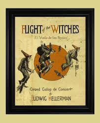 vintage witch illustration flight of the witches poster vintage witch print old