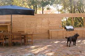outdoor wood wall wood slat wall with outdoor kitchen