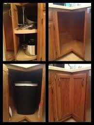 kitchen cabinet garbage can broken lazy susan turned into a trash can compartment first