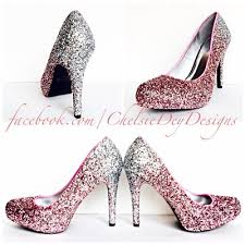 Light Pink Pumps Glitter High Heels Blush Pink Pumps Light Pink Silver Ombre