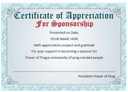 sample text for certificate of appreciation sponsor certificate template templates radiodigital co