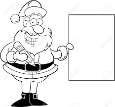 cartoon illustration santa claus holding sign coloring