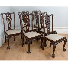 antique english set of 6 chippendale style carved mahogany dining