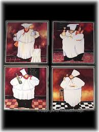 Lot 4 Fat French Chef Tile Trivets Kitchen Wall Decor CJSND005
