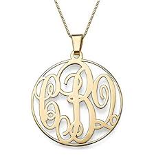 Monogram Necklaces Amazon Com 14k Solid Gold Monogram Necklace Custom Made With