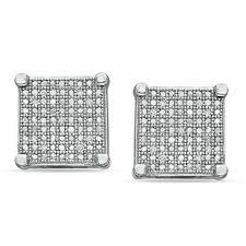 pagoda earrings men s diamond accent square stud earrings in sterling silver