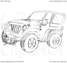 christmas jeep clip art outline clipart of a cartoon black and white jeep wrangler suv on