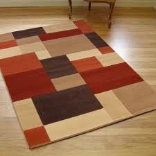 Terracotta Rugs Large Modern Contemporary Patina Blocks Rug Brown Terracotta Red