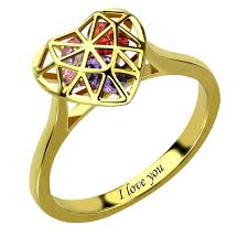 mothers ring with birthstones gold color heart cage ring with birthstones engraved s ring