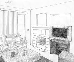 drawn living room detail drawing pencil and in color drawn