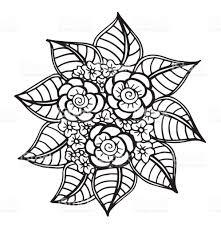 hand drawn fantasy flowers coloring page illustration batik
