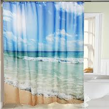online get cheap shower bath beads aliexpress com alibaba group waterproof polyester sea beach shower curtain shower bath screen cover sheer fabric home bathroom decor textiles