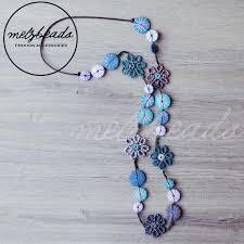 long blue necklace images Unique blue turquoise wooden button yarn flower long necklace jpeg