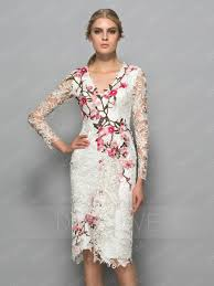 cocktail dresses fancy lace flowers v neck sleeves knee length cocktail dress