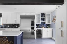 white kitchen cabinets with hexagon backsplash hexagon tile backsplash in navy blue transitional