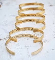 personalized wedding jewelry bridesmaid gift 6 personalized brass cuff bracelets sted