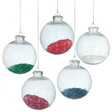 clear transparent green tinsel filled ornament 4 25