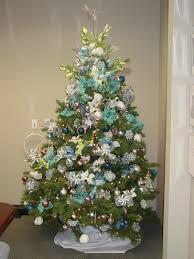 white tree with blue and gold decorations decoration