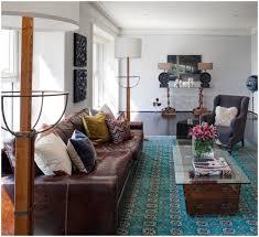 Living Room Design Brick Wall Living Room Stone Brick Wall Round Teal Rug Living Room Design