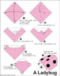 origami gabbiano origami ladybug totem coccinelle riciclo e bambini