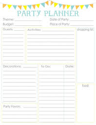 party planner birthday party planner printable