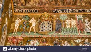 byzantine mosaic adam and eve eat from the tree of sin the stock