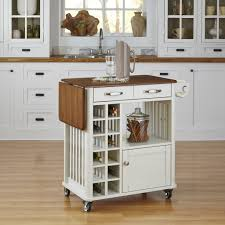 Kitchen Wine Cabinets by Classic Campbell Rolling Kitchen Cart With Wine Rack In White