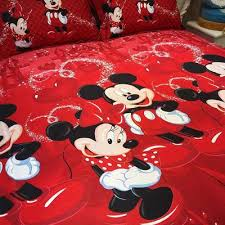 Mickey Mouse Bed Sets 4pcs 100 Cotton Bed Linen 3d Mickey Mouse Bedding Sets Minnie