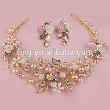 handmade tiaras fancy handmade gold leaf flower pearls wired hair crown and