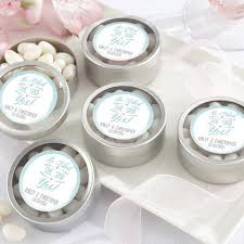 wedding candy favors personalized clear topped candy tins