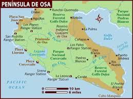 europe peninsulas map map of peninsula de osa