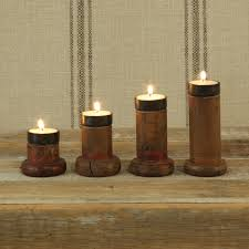 piper wood spool tealight holders set of 4 by homart seven colonial