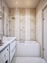 bathroom vanity and tub shower with rain shower head also tile