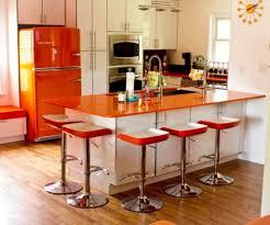 retro modern kitchen modern bar stool and orange fridge using retro 10 kitchen