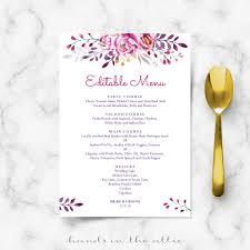 wedding menu templates pink wedding menu printable templates in the attic