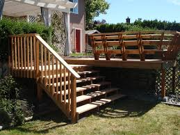 exterior impressive picture of deck with stairs along with light