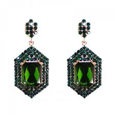 serenity earrings emerald geometric crystals pave serenity statement earrings