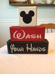 disney bathroom ideas wash your mickey minnie primitive wood sign blocks