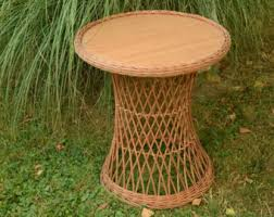 Side Patio Table Wicker Table Etsy