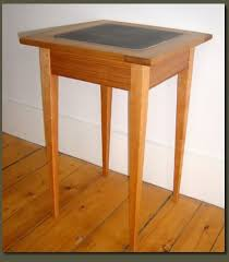 Cherry End Tables Cherry End Table With Customizable Soapstone Tile For